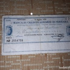 Billetes extranjeros: BILLETE DE 200 LIRAS DE FERRARA DEL AÑO 1976. Lote 184893817