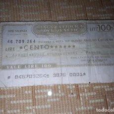 Billetes extranjeros: BILLETE DE 100 LIRAS DE VENECIA ,CIRCULADO . Lote 184894207