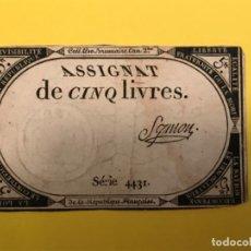 Billetes extranjeros: ASSIGNANT DE CIN LIVRES SERIE 4431 BILLETE FRANCIA 5 LIVRES . Lote 184903336
