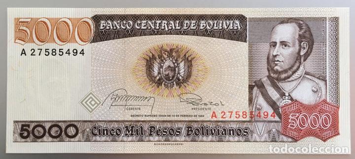 Billetes extranjeros: Bolivia. 5000 pesos bolivianos - Foto 2 - 185720215