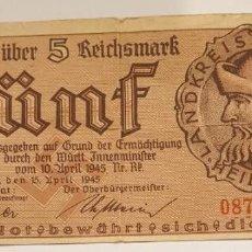 Billetes extranjeros: BILLETE 5 REICHSMARK HEIDENHEIM MUY ESCASO. Lote 185918635