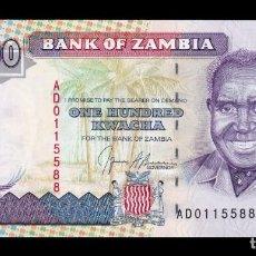 Billetes extranjeros: ZAMBIA 100 KWACHA 1991 PICK 34 SC UNC. Lote 221951852