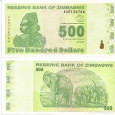 Billets internationaux: ZIMBABWE 500 DOLLARS 2009 SC / UNC. Lote 205682137