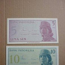 Notas Internacionais: INDONESIA - 5 Y 10 SEN 1964. Lote 186097976