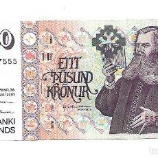 Billetes extranjeros: ISLANDIA 1000 KRONUR 2001 PICK 59AA. Lote 186144138