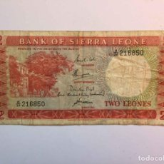 Billetes extranjeros: BILLETE DE 2 LEONES: SIERRA LEONA (1967) ¡COLECCIONISTA! ¡ORIGINAL!. Lote 186188465