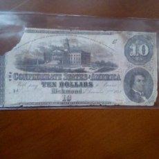 Billetes extranjeros: 1862 $10 TEN DOLLARS CSA CONFEDERATE STATES OF AMERICA. ESTADOS CONFEDERADOS. Lote 186218987