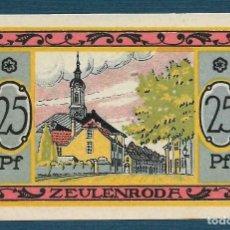 Billetes extranjeros: BILLETE ALEMANIA ZEULENRODA NOTGELD 1921 25 PFENNIG S.N. UNC/AU. Lote 186392942