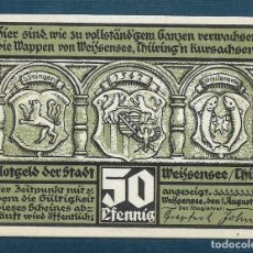 Billetes extranjeros: BILLETE ALEMANIA WEISSENSEE THÜR NOTGELD 1921 50 PFENNIG S.N. UNC/AU. Lote 186393266