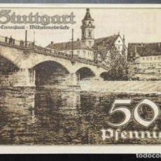 Billetes extranjeros: BILLETE ALEMANIA STUTTGART NOTGELD 1921 50 PFENNIG SERIE D Nº147566 UNC/AU. Lote 186393441