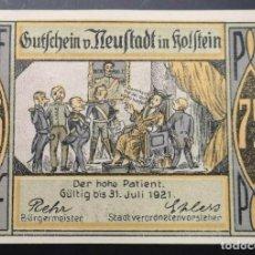 Billetes extranjeros: BILLETE ALEMANIA NEUSTADT IN HOLSTEIN NOTGELD 1921 75 PFENNIG Nº06073 UNC/AU. Lote 186394147