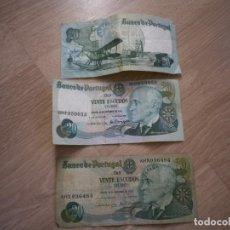 Billetes extranjeros: 3 BILLETES DE 20 ESCUDOS BANCO DE PORTUGAL DE 1978. Lote 186433815