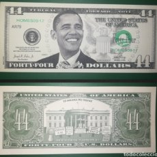 Billetes extranjeros: ESTADOS UNIDOS USA BILLETE 44 DOLARES BANKNOTE BARACK OBAMA FANTASÍA CONMEMORATIVO. Lote 187146592