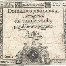 Billetes extranjeros: FRANCIA - FRANCE 15 SOLS 24-10-1792 PK-A 65 1. Lote 187431600