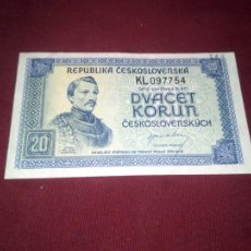Billetes extranjeros: CHECOSLOVAQUIA 20 KORUN (CORONAS) 1945. Lote 187475923