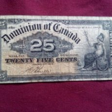 Billetes extranjeros: CANADA. 25 CENTS DE 1900. Lote 187480065