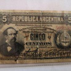 Billetes extranjeros: ARGENTINA 5 CENTAVOS 1883. Lote 187486831