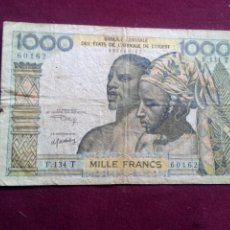 Billetes extranjeros: AFRICA DEL OESTE 1000 FRANCOS 1977. Lote 187497012