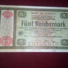 Billetes extranjeros: ALEMANIA. 5 REICHSMARK 1933. Lote 187520846