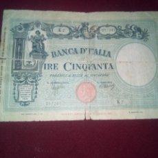 Billetes extranjeros: ITALIA. 50 LIRAS DE 1943. Lote 187539705