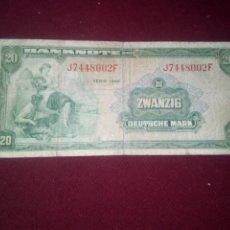 Billetes extranjeros: ALEMANIA OCCIDENTAL. RARO 20 MARCOS DE 1948. Lote 187539926