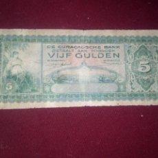 Billetes extranjeros: ANTILLAS HOLANDESAS. CURACAO. 5 GULDEN DE 1943. RARO. Lote 187540111