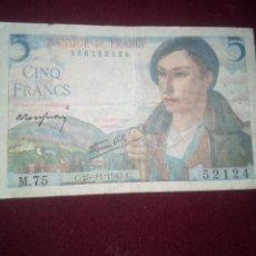 Billetes extranjeros: FRANCIA. 5 FRANCOS 1943. Lote 187540211