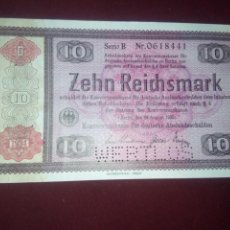 Billetes extranjeros: ALEMANIA. III REICH. 10 REICHSMARK 28.8.1933 CANCELADO. Lote 187540482