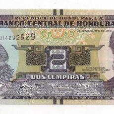 Billetes extranjeros: HONDURAS 2 LEMPIRAS 2016 UNC SERIE REPETITIVAS . Lote 187545035