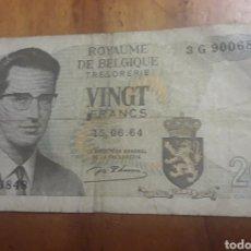 Billetes extranjeros: BILLETE DE 20 BELGIQUE. Lote 187545050