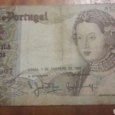 Billetes extranjeros: BILLETE DE 50 ESCUDOS PORTUGAL. Lote 187545181