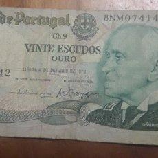 Billetes extranjeros: BILLETE DE 20 ESCUDOS PORTUGAL. Lote 187545268