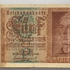 Billetes extranjeros: ALEMANIA. 5 MARCOS 1942 REICHSMARK. Lote 188712443