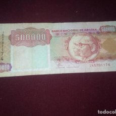 Billetes extranjeros: ANGOLA 500000 KWANZAS 1991. RINOCERONTE. Lote 188756467