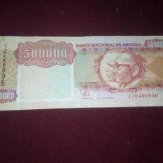 Billetes extranjeros: ANGOLA 500000 KWANZAS 1991. RINOCERONTE. Lote 188756487