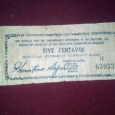 Billetes extranjeros: FILIPINAS MINDANAO 5 CENTAVOS 1943. Lote 188765306