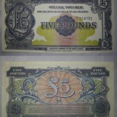 Billetes extranjeros: GRAN BRETAÑA 5 LIBRAS ESTERLINAS FUERZAS ARMADAS BRITÁNICAS REPRODUCCIÓN FASCIMIL. Lote 201190872