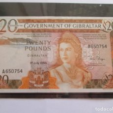 Billetes extranjeros: GIBRALTAR * 20 LIBRAS 1 DE JULIO DE 1986 * S/C RARO. Lote 189502476