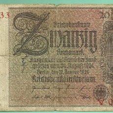 Billetes extranjeros: ALEMANIA. BILLETE DE 20 MARK 1929. Lote 189583541