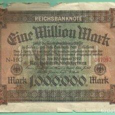 Billetes extranjeros: ALEMANIA. BILLETE DE 1 MILLON DE MARK 1923. Lote 189586018