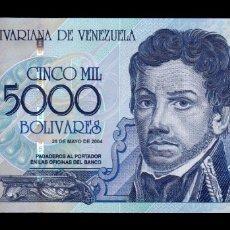Billetes extranjeros: VENEZUELA 5000 BOLIVARES FRANCISCO DE MIRANDA 2004 PICK 84C SC UNC. Lote 221953960