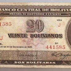 Billetes extranjeros: BOLIVIA. 20 BOLIVIANOS 1945. Lote 190383938