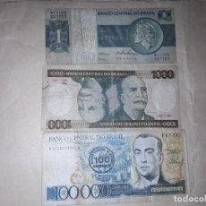 Billetes extranjeros: 3 BILLETES DE BRASIL ,CIRCULADOS . Lote 190389872