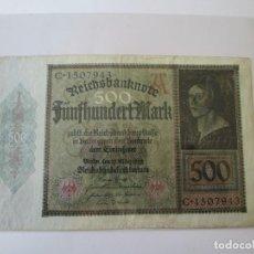 Billetes extranjeros: BILLETE * 500 MARCOS 1922 ALEMANIA. Lote 190562777