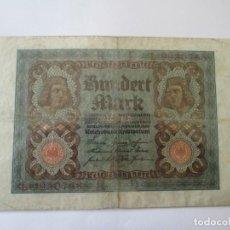 Billetes extranjeros: BILLETE * 100 MARCOS 1920 ALEMANIA. Lote 190562915