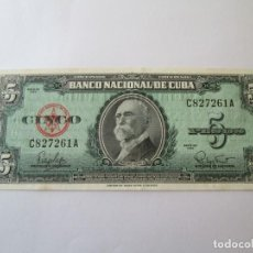 Billetes extranjeros: BILLETE * 5 PESOS 1960 CUBA * PLANCHA. Lote 190564295