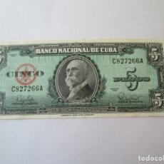 Billetes extranjeros: BILLETE * 5 PESOS 1960 CUBA * PLANCHA. Lote 190564317