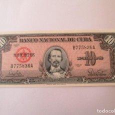 Billetes extranjeros: BILLETE * 10 PESOS 1960 CUBA * PLANCHA. Lote 190564741