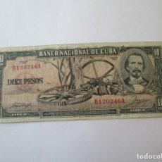 Billetes extranjeros: BILLETE * 10 PESOS 1956 CUBA. Lote 190564982