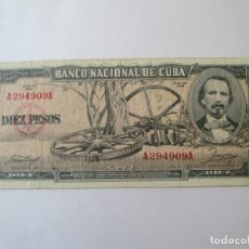 Billetes extranjeros: BILLETE * 10 PESOS 1956 CUBA. Lote 190565030